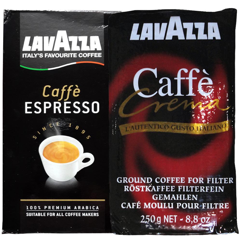 LAVAZZA Espresso黑牌咖啡粉(2包)+Crema研磨咖啡粉(2包)