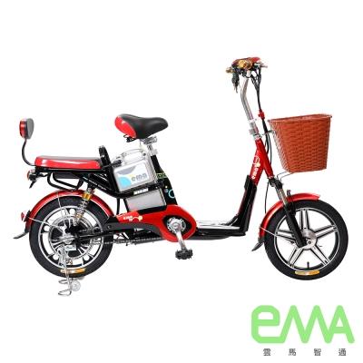 【EMA雲馬】電動 48鉛酸 LED 輕便 後雙避震  電動輔助自行車 黑紅