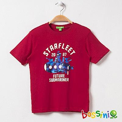 bossini男童-印花短袖T恤22暗紅