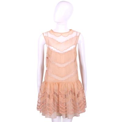 RED VALENTINO 粉膚色蕾絲拼接波浪設計無袖洋裝 (附內裡)