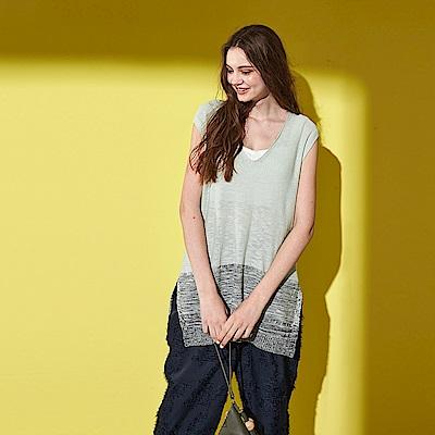 氣質簡約撞色混織棉無袖V領設計長版針織上衣-綠