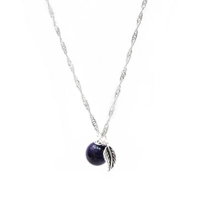 Hera925純銀手作天然紫水晶羽毛項鍊/鎖骨鍊