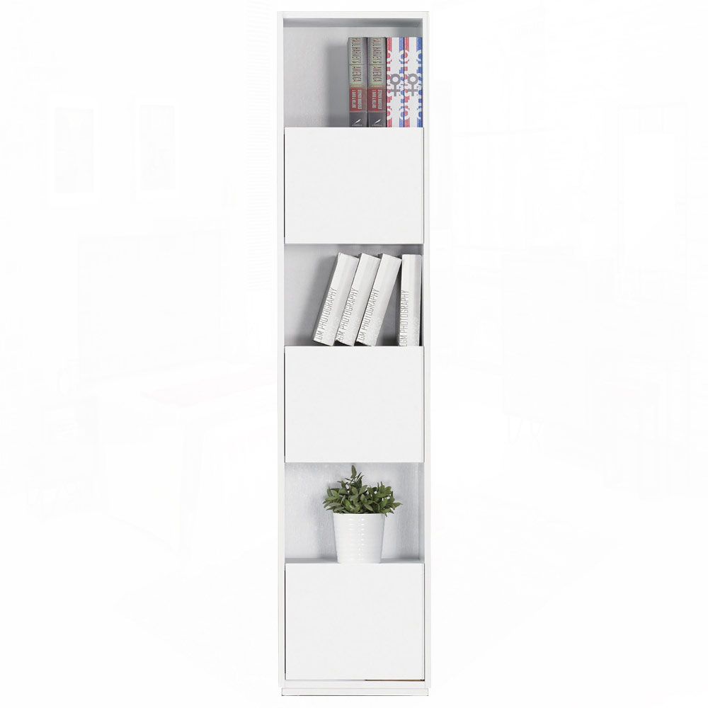 AT HOME - 布拉格1.35尺白色三單門書櫃 41x30x185cm