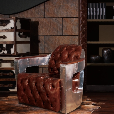 MUSE - Gustave古斯塔夫復古工業風鋁質牛皮沙發