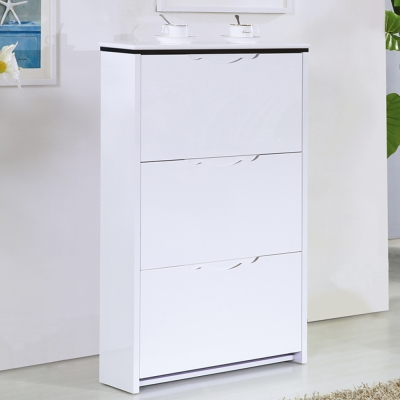AT HOME-史翠2.3尺白色三門掀式鞋櫃