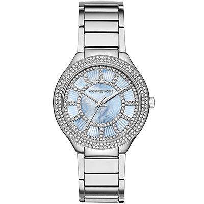 Michael Kors 皇室舞會晶鑽時尚腕錶-珍珠貝x銀/38mm