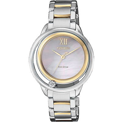 CITIZEN L光動能星星閃耀晶鑽錶(EW5514-87D)-銀x玫瑰金色/32.5mm