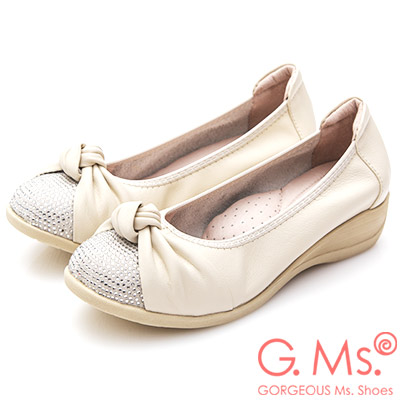 G.Ms. 牛皮燙鑽扭結坡跟鞋-米白