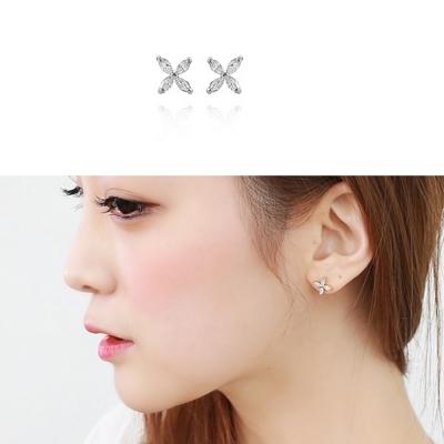 梨花HaNA-韓國925銀微鑲唯妳四葉草細緻耳環