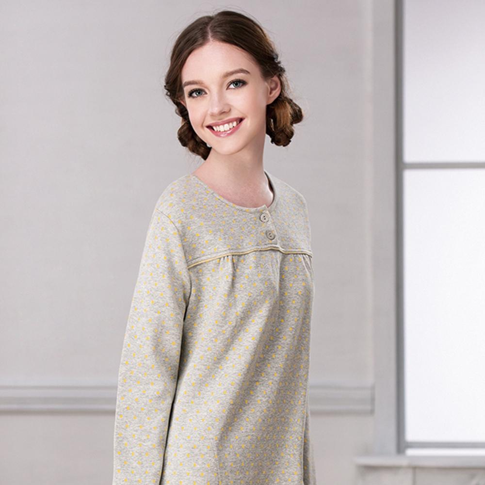 羅絲美睡衣 - 甜心女孩長袖洋裝睡衣(黃色)