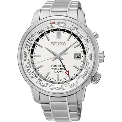 SEIKO精工 KINETIC 世界時間腕錶(SUN067P1)-銀/43mm