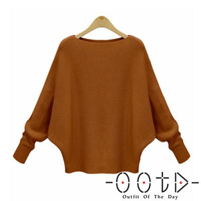 大圓領寬鬆蝙蝠袖針織上衣 (共三色)-OOTD