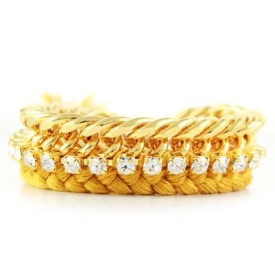 Ettika 美國品牌 方塊水晶 金鍊編織幸運手環 亮金色 Yellow