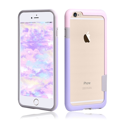 VXTRA日韓糖果風 iPhone 6s 4.7吋 撞色邊框手機殼(可人粉紫)
