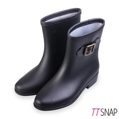 TTSNAP雨靴-古典側釦百搭短筒防水靴 黑