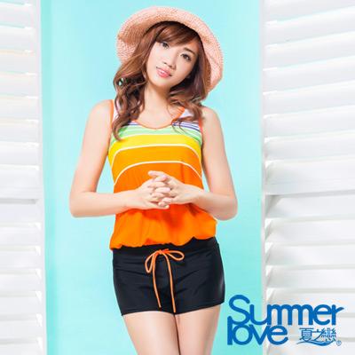 夏之戀SUMMER LOVE 比基尼泳裝 連身褲 亮麗橘色條紋兩件式泳衣