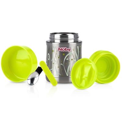 Nuby不鏽鋼真空副食品保溫食物罐450ml-幾何綠(6M+)