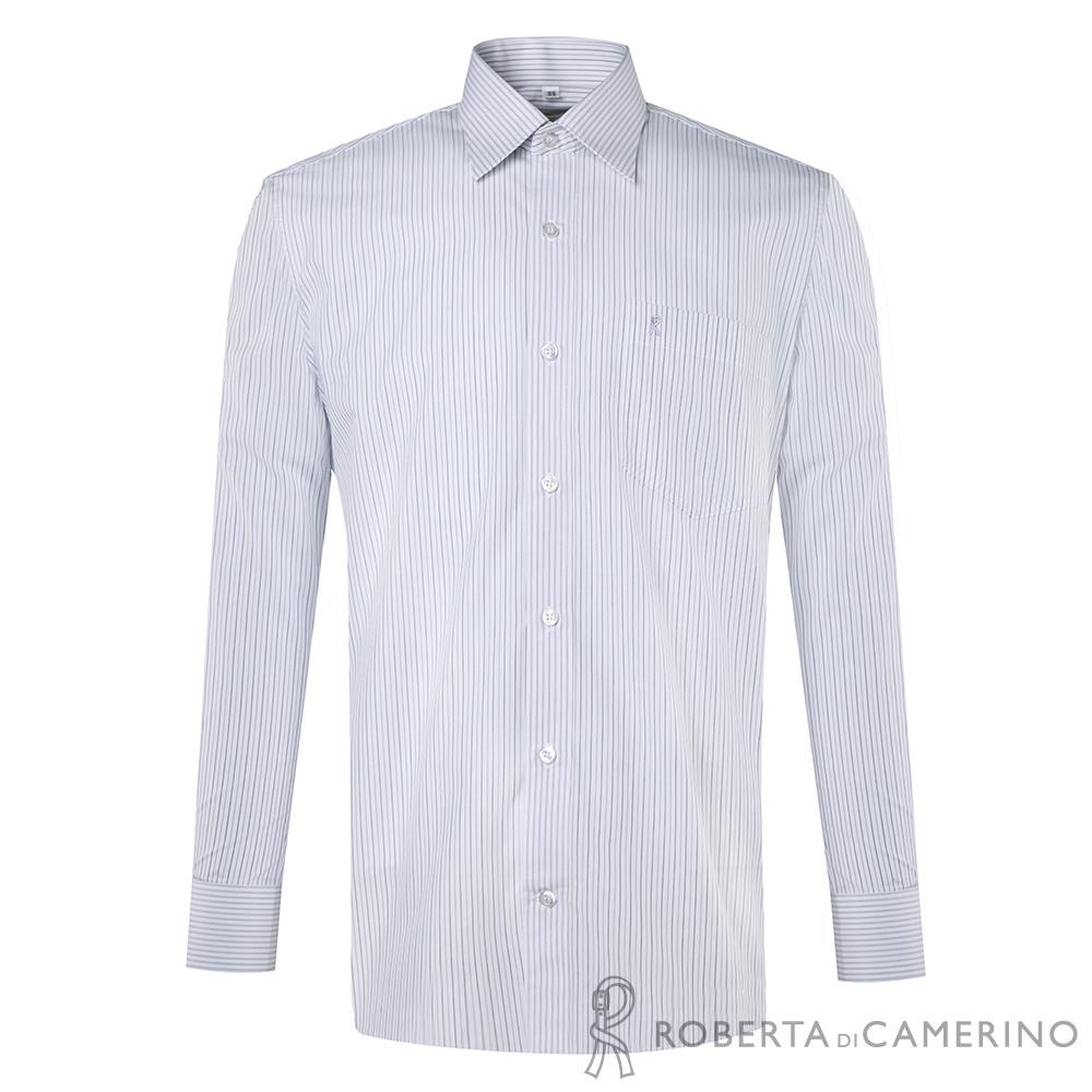 ROBERTA諾貝達 台灣製 獨特迷人 雙色條紋長袖襯衫 白色