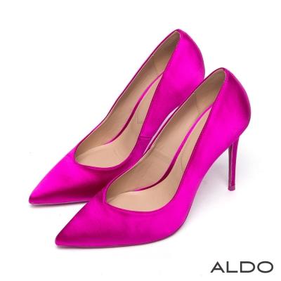 ALDO 原色緞面尖頭V字細高跟鞋~紫丁香色