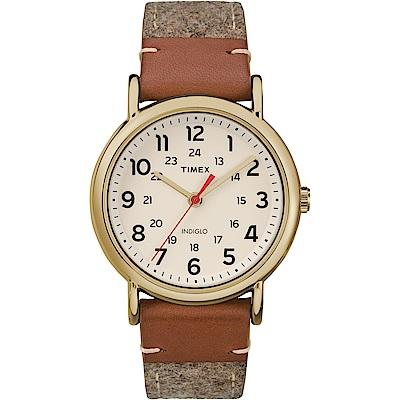 【TIMEX 】天美時經典復刻冷光Weekender系列腕錶-米白/38mm