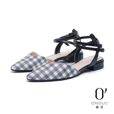 達芙妮x高圓圓 圓漾系列 平底鞋-格紋蕾絲交叉雙踝帶尖頭鞋-黑