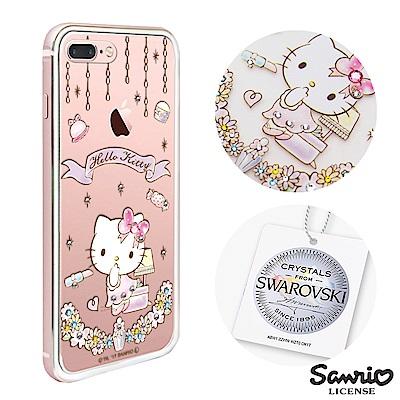 三麗鷗 Kitty iPhone8/7 Plus 施華彩鑽鋁合金屬框手機殼-美妝凱蒂
