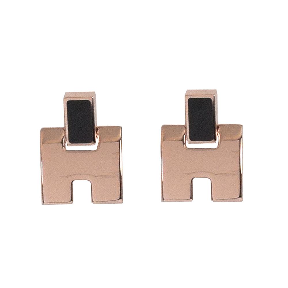 HERMES Eileen款LOGO造型耳針式耳環(黑/玫瑰金)