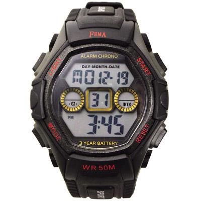 FEMA 個性城市 計時鬧鈴 數位休閒錶(P251B)-黑/45mm