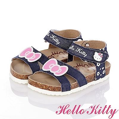 HelloKitty 牛仔布系列 個性舒適吸震防滑休閒涼鞋童鞋-藍