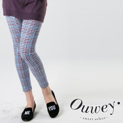 OUWEY歐薇-細格紋內搭褲-黑-藍