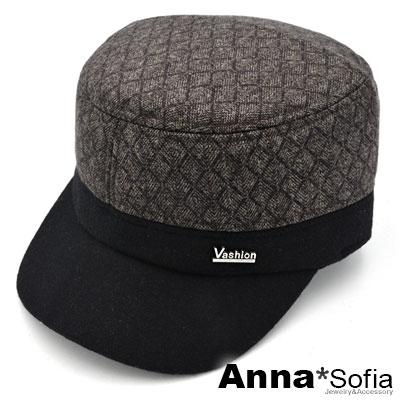 AnnaSofia 雙拼色鋪棉隱藏護耳兩用 棒球帽軍帽(咖頂系)