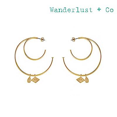 Wanderlust+Co 澳洲時尚品牌 ARYA HOOP鏤空圓環耳環 金色