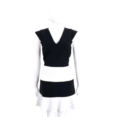 BOUTIQUE MOSCHINO 黑x白拼接V領荷擺短袖洋裝