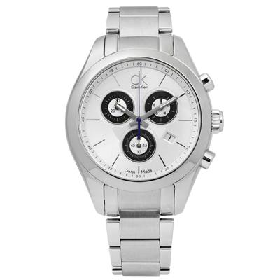 CK 時尚都會三環計時不鏽鋼手錶-銀色/39mm