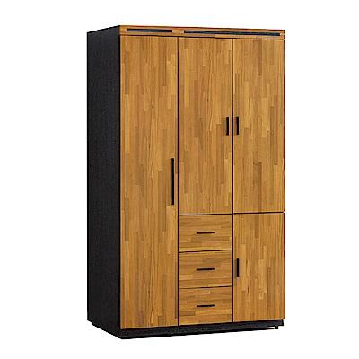 品家居 斑傑4尺木紋雙色四門三抽衣櫃-119x56x198cm免組