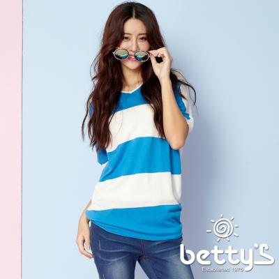 betty-s貝蒂思-條紋跳色寬肩針織衫