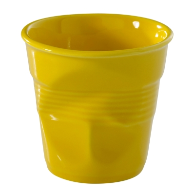 法國-REVOL-FRO-黃色-陶瓷皺折杯-80cc