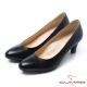 CUMAR經典黑與白-優雅素面OL高跟鞋-黑