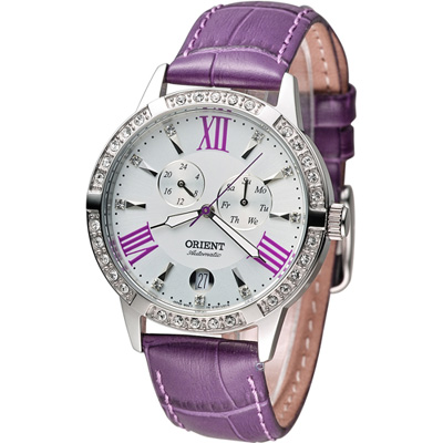 ORIENT Elegant 璀璨時光機械錶-白x紫色/37mm