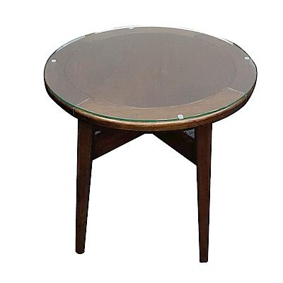 品家居 約比亞2尺實木玻璃小茶几-60x60x59cm免組