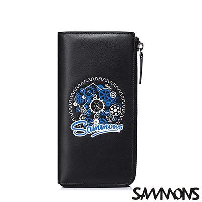SAMMONS-真皮尼古拉斯率性拉鍊長夾-潮流黑