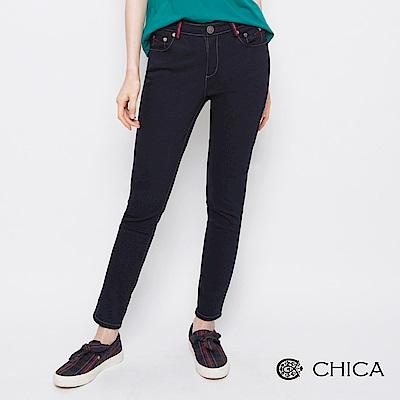 CHICA 復古原味配色車縫線設計牛仔褲(2色)