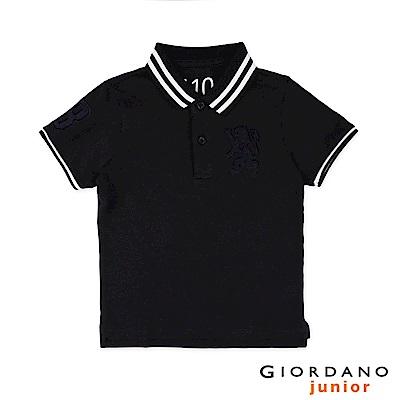 GIORDANO  童裝勝利獅王3D刺繡短袖POLO衫-24 標誌黑