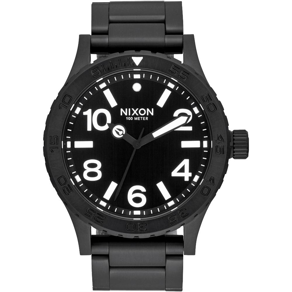 NIXON 46 品牌潮流躍動運動腕錶-黑/45mm