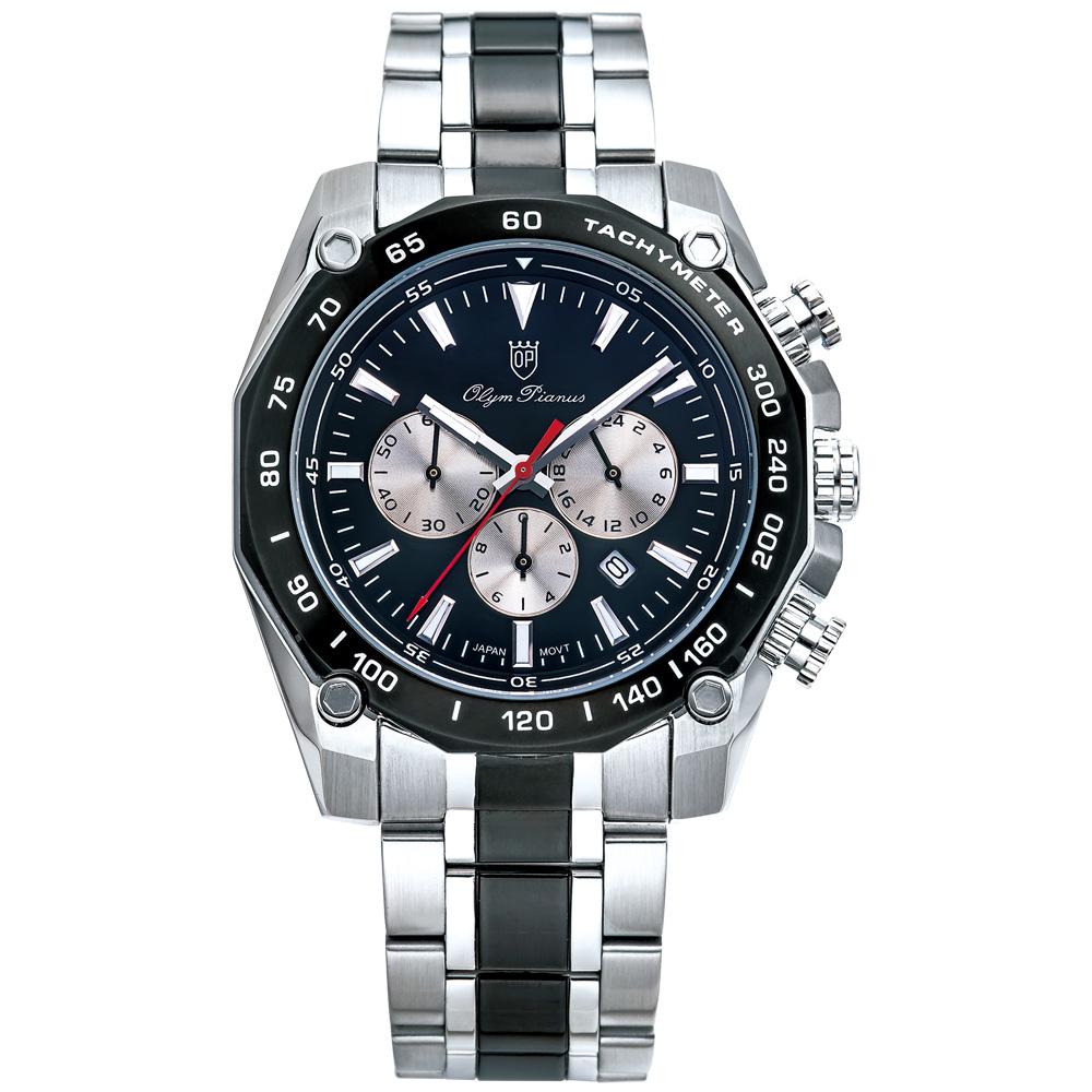 Olym Pianus 奧柏表 極速方程式潮流時尚腕錶-黑/44mm