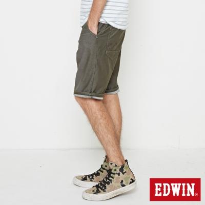 EDWIN 加大碼迦績褲JERSEY寬鬆色褲短褲-男-橄欖綠
