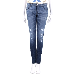haikure 刷色破損設計修身直筒牛仔褲