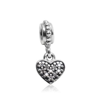 Pandora 潘朵拉 垂墜鑲鋯愛心 純銀墜飾 串珠