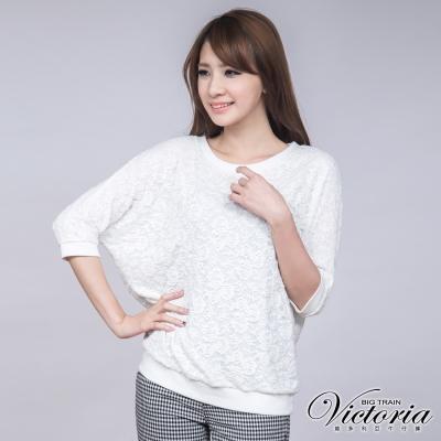 Victoria 全蕾絲寬鬆T-女-白色