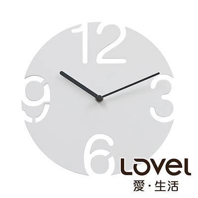 Lovel 25cm木刻靜音時鐘-白(W240-WH)